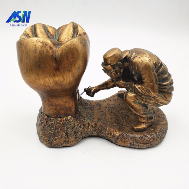 2017 New Arrival Dental model copper material Copper statue of man and teeth tooth model dental pathology teeth model