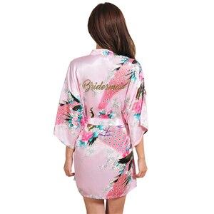 Image 3 - VLENATLNO Robe en Satin, peignoir en rayonne, pour femmes, vêtements de nuit Kimono, pour demoiselle dhonneur, Floral, grande taille