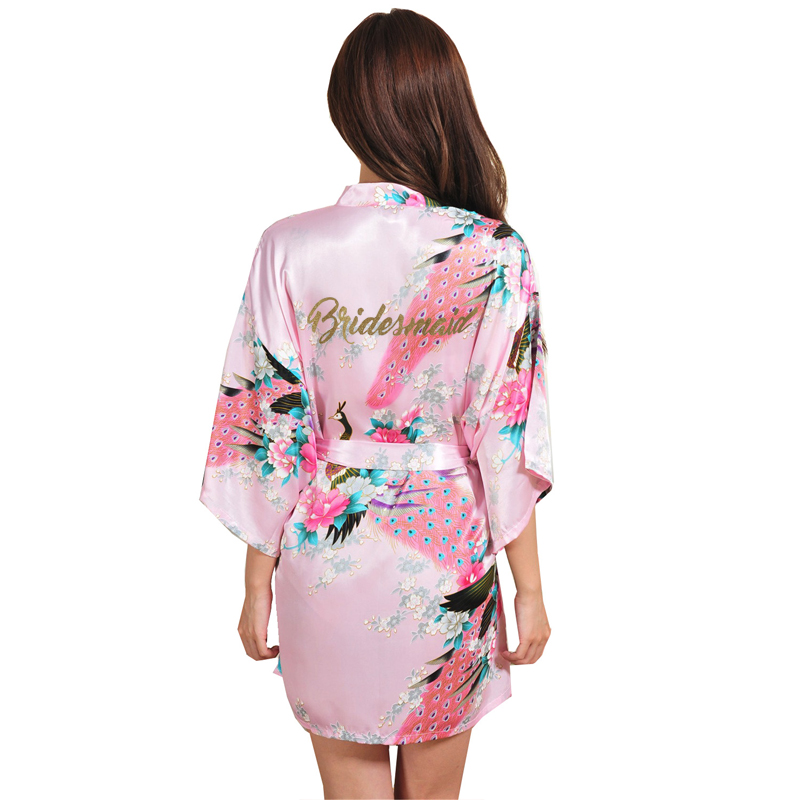 Image 3 - VLENATLNO Wedding Bride Bridesmaid Floral Robe Satin Rayon Bathrobe Nightgown For Women Kimono Sleepwear Flower Plus Size-in Robes from Underwear & Sleepwears on AliExpress