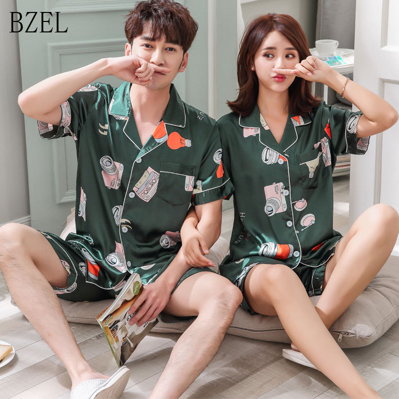 BZEL Cartoon Print Couple Sleep Wear Women Men Short Sleeve Pajama Set 2 Pcs Suit Elastic Waist Turn-down Collar Lovers Clothing