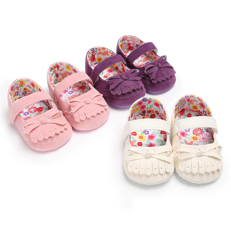 Spring And Autumn 0-1 Female Baby Tassel Slip Soft Bottom Shoes Baby Toddler Shoes