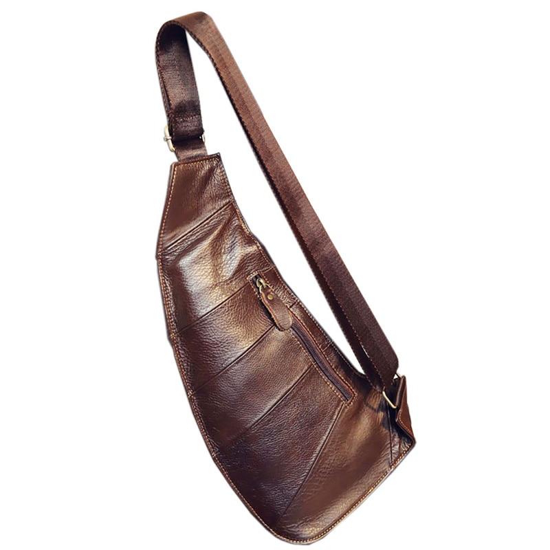 Högkvalitativa män Äkta läderkofta Vintage Sling Bröstback Dag - Handväskor - Foto 3
