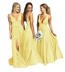 Image 4 - セクシーな花嫁介添人ドレス 2020 ノースリーブvネック背中のサテンabiye gece elbisesiシャンパンウェディングパーティー
