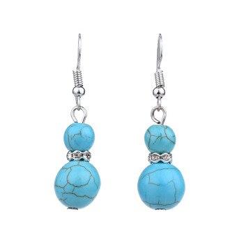 Bohemian Carved Ball Howlite Stone Vintage Fashion Drop Dangle Earrings Retail Jewelry Gift