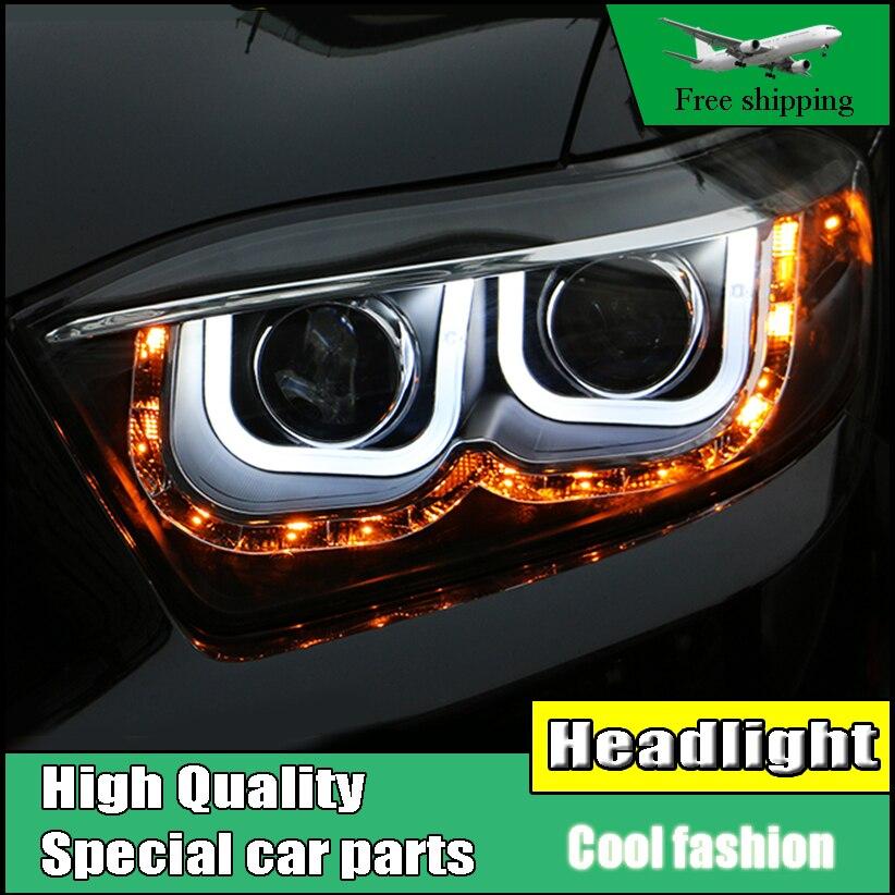 Car Styling Head Lamp Case For Toyota Highlander Headlights 2009 2011 LED Headlight U Angel Eyes