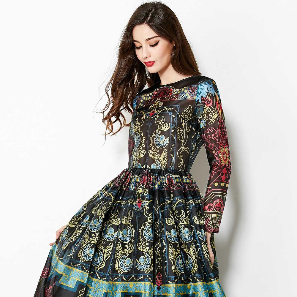 כדור שמלת שמלת XXL אופנה יומי באיכות גבוהה 2017 אירופאי חדש בציר הדפסת Slim גדול Hem אלגנטי קרסול-אורך ארוך שמלה