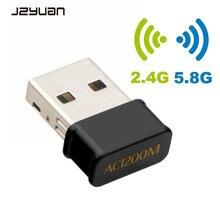 Mini USB 1200Mbps wifi adaptörü Dual Band ağ kartı 5GHz 2.4Ghz 802.11AC wifi güvenlik cihazı AC adaptörü Laptop için pencere win 7 MAC OS