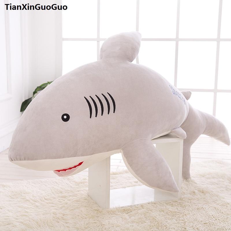 stuffed toy large 100cm font b cute b font gray shark plush toy down cotton shark