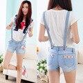 Mulheres nova Chegada do Verão Shorts Jeans Macacão Bodysuit Cintas Mulheres Soltas Do Vintage Suspensórios Macacões Macacões JS-5464
