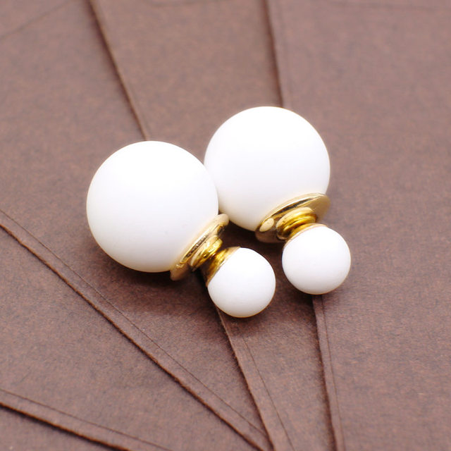 New cute two Faced Earring with simulated Pearl ball double side earring hiphop For Women Korea Front Back stud accessories