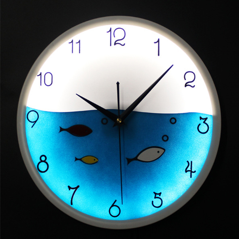 OUYUN LED Luminous Night Lamp Cute Little Fish Hanging Watch Mediterranean Mechanics Circular font b Wall