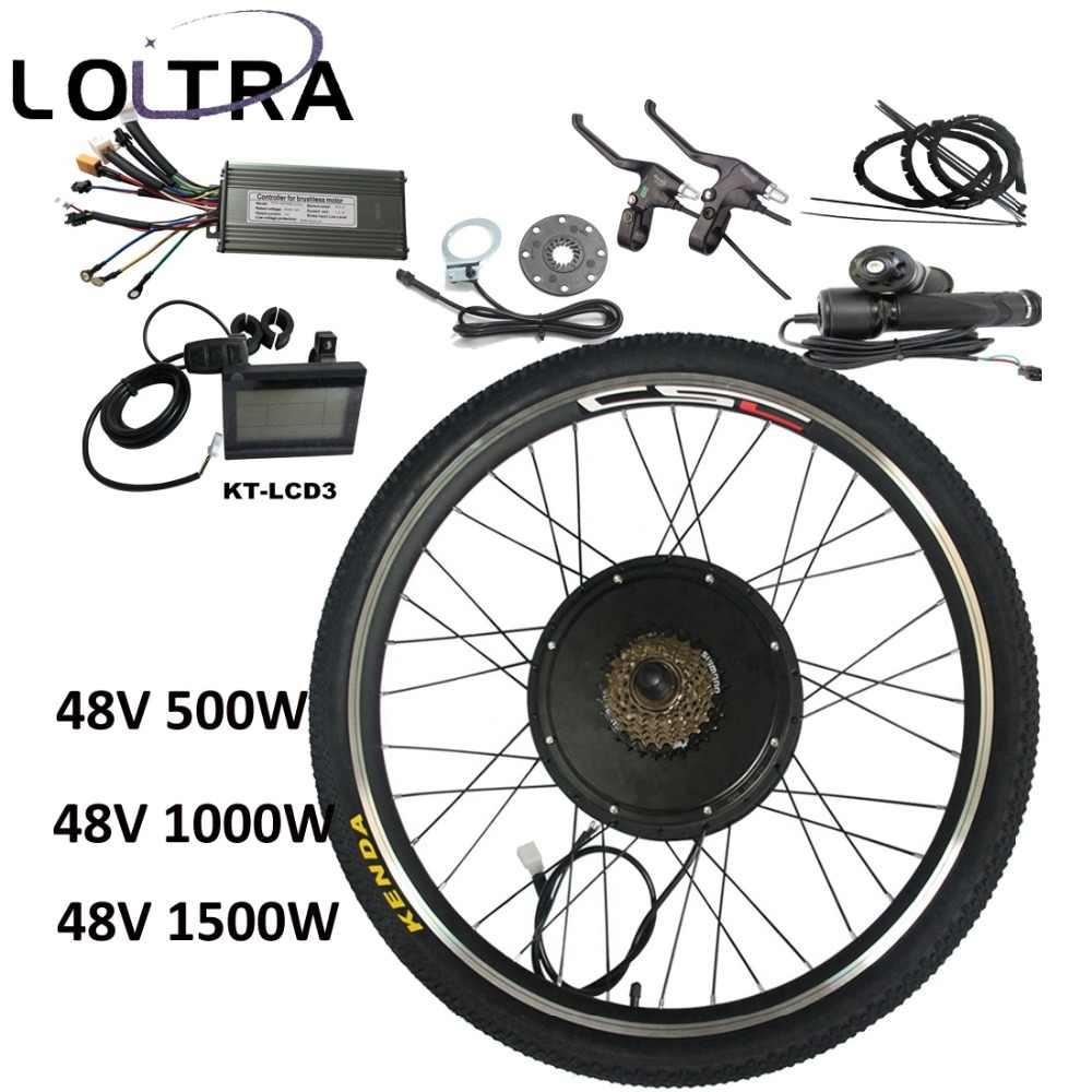 """MTB zestaw do zamiany na rower elektryczny z KT-LCD3 wyświetlacz 250/500/1000/1500W 20 """"24"""" 26 """"27.5 """"29"""" elektryczny rower górski zestaw do konwersji"""