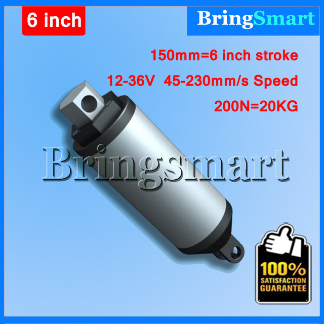 150mm 6 Inch Linear Actuator Tubular Motor 12V-36V DC Motor 45-230mm/s 200N Heavy Duty Electric Motor Waterproof Bringsmart