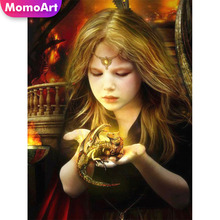 MomoArt Diamond Painting Girl Embridery Full Square Rhinestone Mosaic Portrait Home Decoration