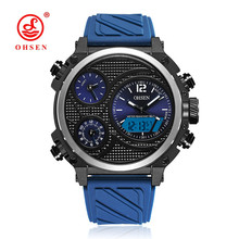 купить NEW OHSEN Fashion Brand Quartz Digital Watch Men LED 50m Swim Sports Watch Men Silicone Band Army Electronic Wristwatch Relogios онлайн