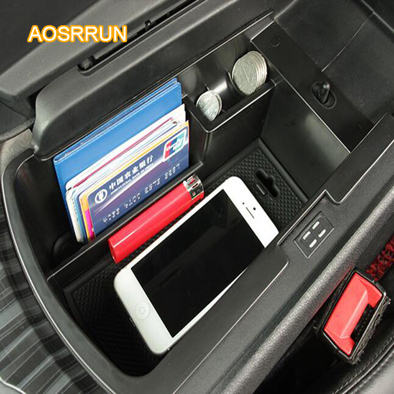 AOSRRUN Central armrest box storage box for noise storage box Covers Car accessories FOR Peugeot 3008 2013 2014 2015 2016 ...
