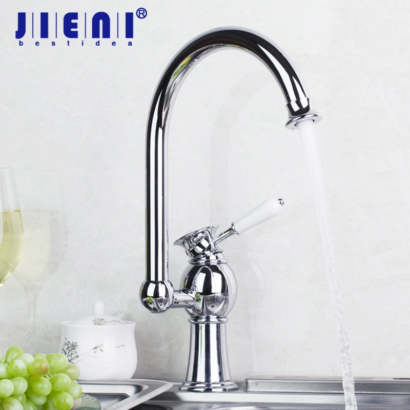 Chrome Solid Brass Single Hole Vessel Ceramic Handle Mixer Tap Swivel Spout Kitchen Sink Faucet wholesale and retail luxury chrome brass 360 swivel spout kitchen faucet single handle hole vessel sink mixer tap