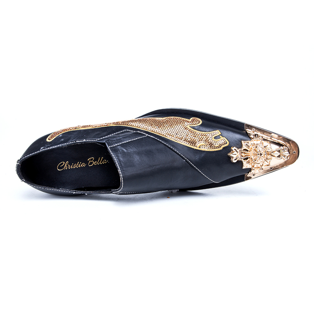 Christia Bella Fashion Brand Luxury Sequins Men Wedding Dress Shoes Genuine Leather Gold Pointed Toe Formal Shoes Large Size