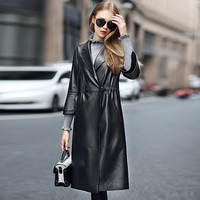 Real Sheepskin Coat Women Autumn Winter Slim Long Natural Leather Jacket Female Fashion Black Ruffles Sleeve Womens Coats Luxury