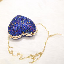 Angelatracy 2019 New Arrival Heart Shape Blingbling Sequins Lock Metal Frame Women Girl Day Clutches Evening Bag Crossbody Bags