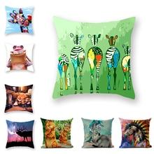 Creative Zebra Fawn Pillow Cover Retro Square Modern Tatami Decorative Cat Cushion Cover Peach Skin Flax Animal Household Items недорого