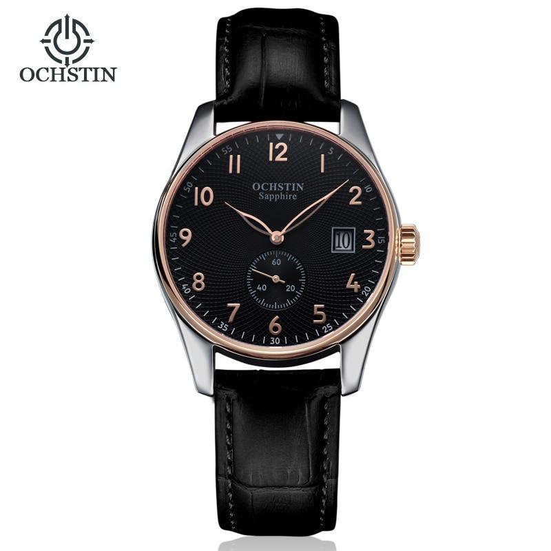 OCHISTIN Casual Business Fashion Watch Men's Quartz Wrist Watches Male Wristwatch Seconds Sub-dial Calendar Leather Strap jubaoli 1119 casual male quartz watch with multiple sub dial