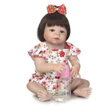 "23"" Girl doll reborn full body silicone reborn babies blue/brown/green eyes bebe alive reborn bonecas NPK"
