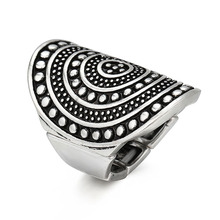 Adjustbale Men Rings Big Black Carved Ethnic Antique Silver Plated Ring For Women Retro Texture Engraved Wholesale Lover ring