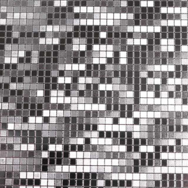 Mini Mosaic Tiles Luxury Metallic Design Glitter Silver Foil Wallpaper Roll Aluminum