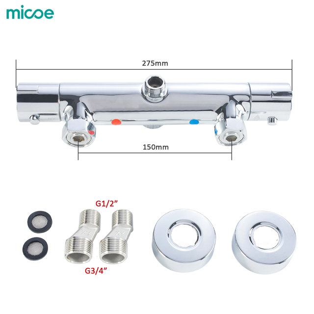 Micoe Thermostatic Shower Faucets  Bathroom Thermostatic Mixer Hot And Cold Bathroom Mixer Mixing Valve Bathtub Faucet