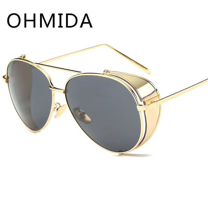 OHMIDA New Fashion Oversized Sunglasses Men Mirror Vintage Luxury Brand Designer Sun Glasses Women Metal font