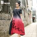 Outline Brand Summer Women Dress Contrast Color O-neck Linen Long Dresses Short Sleeve Loose Vestido Summer Dress L142Y033