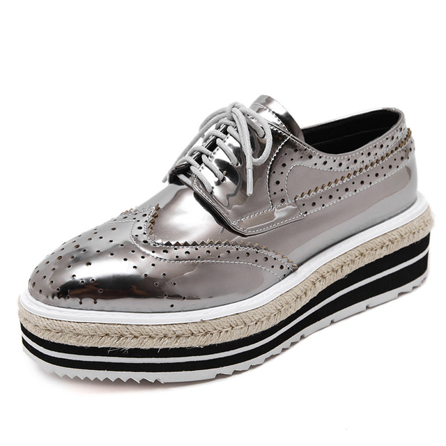 Xemonale Platform Brogue Shoes Woman British Style Oxfords 2017 New Creepers Lace-Up Flats Casual Silver Women Shoes XWD4740