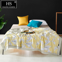 Bohemia Floral Yellow Thin Quilt Lyocell Tencel Fabric Summer Quilts Double Adult Comforter Bed Cover Bedspread Queen King Size