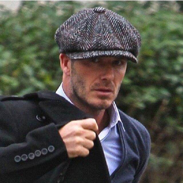 a6fb7642 Beckham Brand Hat Winter Hat Men Wool Blend Newsboy Cap High Quality Beret  Retro Striped Octagonal Hat for Men Women Hats