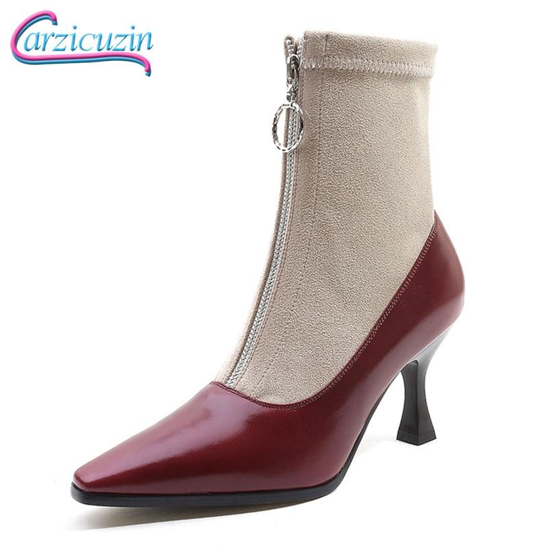 CarziCuzin Size 34-42 Women High Heel Boots Real Leather Zipper Pointed Toe Strange Heels Mixed Color Women Mid Calf Sock Boats