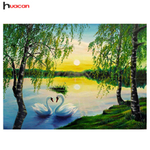 HUACAN 5D Swan Lake Diamond Painting DIY Full Round Diamonds Embroidery Mosaic Cross Stitch Needlework for Decoration MH129
