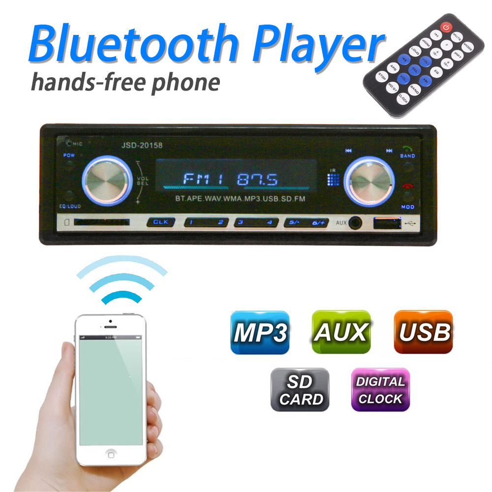Latest Bluetooth Car MP3 Player 1 Din Stereo Audio In-Dash FM Aux Input Receiver SD USB MP3 Radio Player
