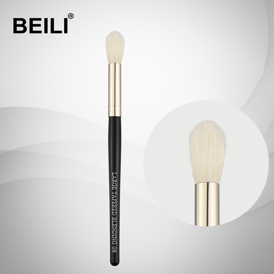 BEILI 1 Piece Goat Hair Black handle Silver ferrule Highlight Large blending Single Makeup Brushes 08 makeup brushes