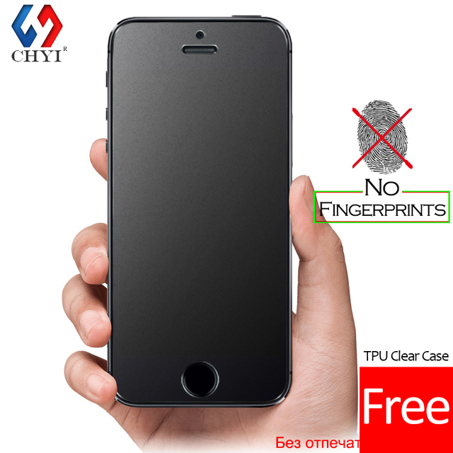 No Fingerprint Premium Tempered Glass Screen Protector For iphone 5 SE 5s 5C Frosted Glass Protective Film For iPhone5 Free case