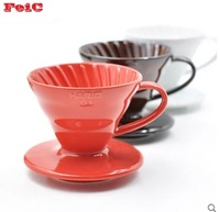 FeiC 1pc 3 colors hario coffee dripper japanese ceramic dripper V60 VDC 01 1 2cups for barista