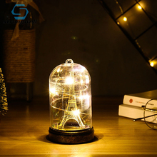 Strongwell Creative Paris Tower Light Decoration With Led Lights In A Glass Dome Suitable For Wedding Party Valentines Day Gift