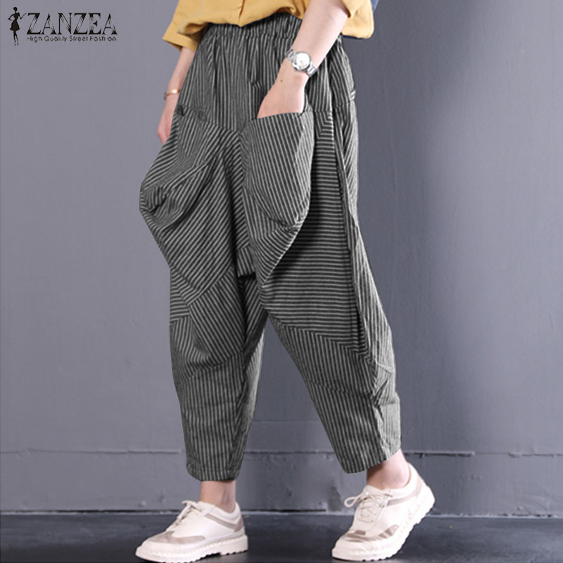 2018 Autumn ZANZEA Women Elastic Waist Pockets Vintage Casual Loose Turnip Trousers Work Baggy Striped Harem Pants Pantalon