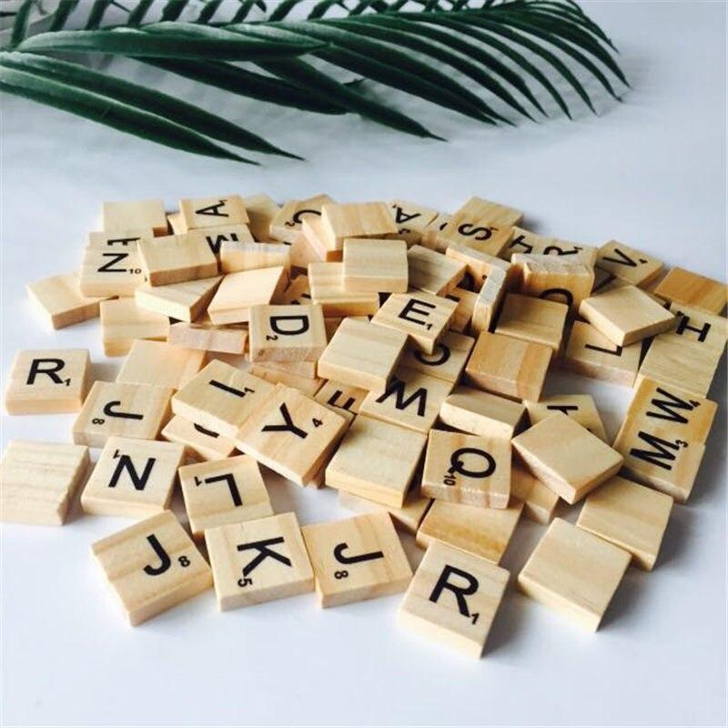100 шт. деревянный английские буквы алфавита scrabbles количество слов Изделия из дерева свадьба украшения DIY