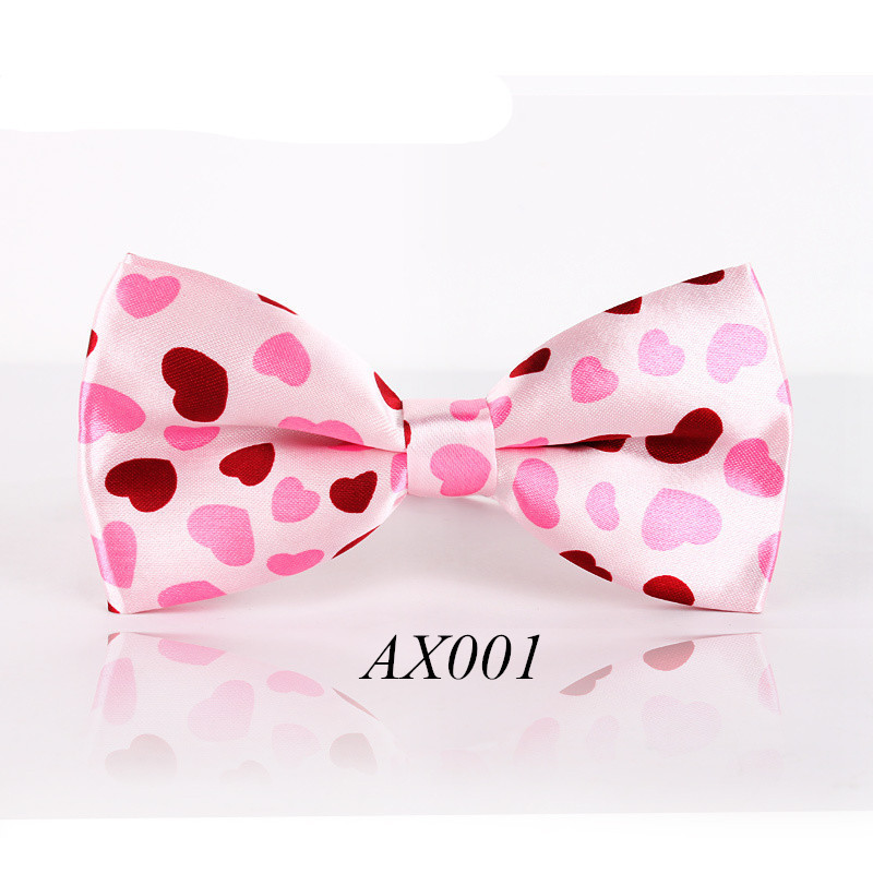 Free Shipping Men Women Pink Love Fashion Bowtie Cravat  Adjustable Butterfly Bow Ties Wedding Brand Gravata Pattern Bowknot