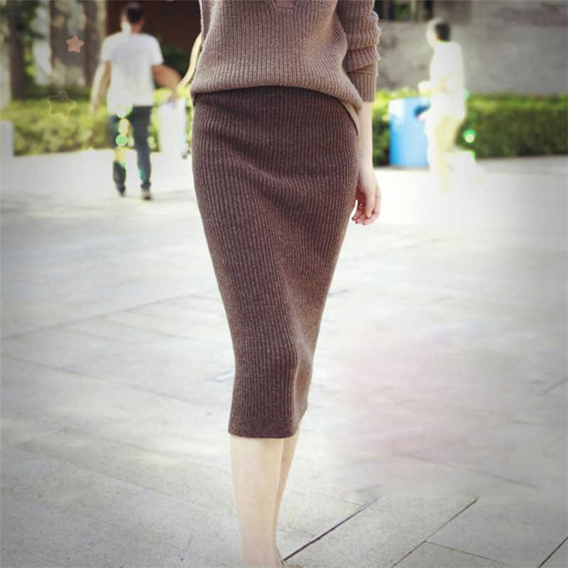 2019 Spring Autumn Long Pencil Skirts Women Sexy Slim Package Hip Maxi Skirt Lady Winter Sexy Chic Wool Rib Knit midi Skirt