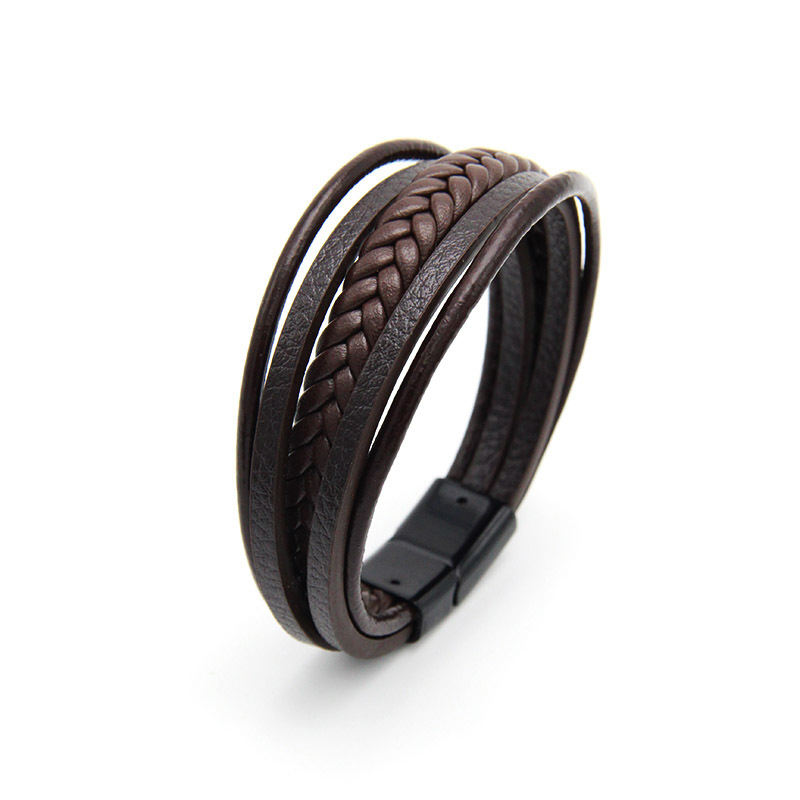 NIUYITID Men Leather Bracelet Magnet Buckle Vintage Male Braid Jewelry For Women Handmade Multi layer Wrist Band Gifts  (5)