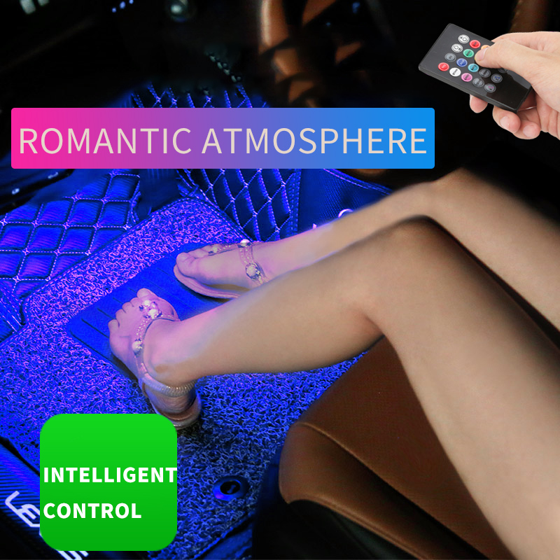 9 Led/7 Color Rgb Car Atmosphere Lamp Automobile Foot Light With Cigar Music Control/multiple Modes Car Interior Decoration Durable In Use Car Lights