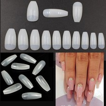500Pcs/bag Natural Coffin Nails Artificial Long Ballerina Nail Tips Square Head Acylic French Fake False 10 Sizes