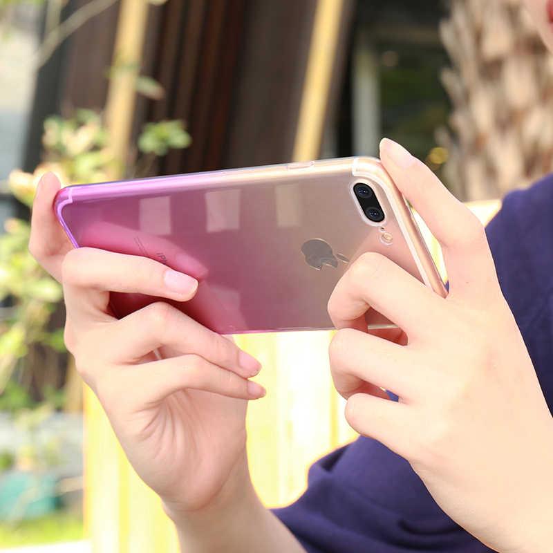 צבעוני שינוי שיפוע צבע רך TPU מקרי טלפון עבור iPhone 6 6s 7 8 בתוספת XS Max XR X 10 סיליקון גומי ברור כיסוי fundas